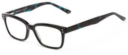 Angle of The Chandler Signature Reader in Black and Blue Marble, Women's and Men's Retro Square Reading Glasses