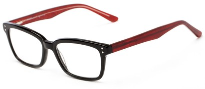 Angle of The Chandler Signature Reader in Black and Red Marble, Women's and Men's Retro Square Reading Glasses