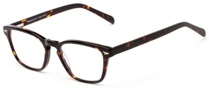 Angle of The Rialto Signature Reader in Dark Brown Tortoise, Women's and Men's Retro Square Reading Glasses