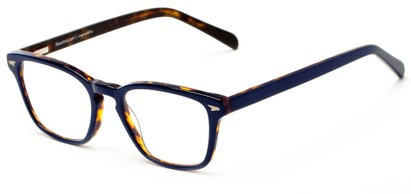 Angle of The Rialto Signature Reader in Navy Blue with Tortoise, Women's and Men's Retro Square Reading Glasses