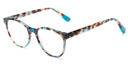Angle of The Getty Signature Reader in Blue/Brown Tortoise, Women's and Men's Round Reading Glasses