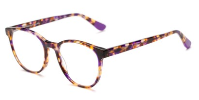 Angle of The Getty Signature Reader in Purple/Brown Tortoise, Women's and Men's Round Reading Glasses