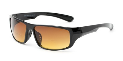 Angle of The Gordon High Density Bifocal Driving Reader in Black with Amber, Women's and Men's Sport & Wrap-Around Reading Sunglasses