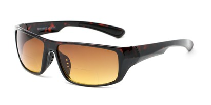 Angle of The Gordon High Density Bifocal Driving Reader in Tortoise with Amber, Women's and Men's Sport & Wrap-Around Reading Sunglasses