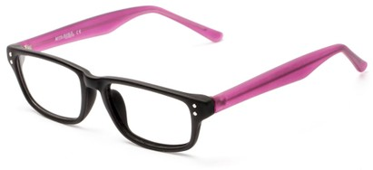 Angle of The Banks Customizable Reader in Matte Black/Purple, Women's and Men's Retro Square Reading Glasses