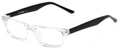 Angle of The Banks Customizable Reader in Clear/Matte Black, Women's and Men's Retro Square Reading Glasses