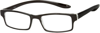 Angle of The Boise Hanging Reader in Glossy Black, Women's and Men's Rectangle Reading Glasses