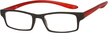 Angle of The Boise Hanging Reader in Matte Red/Black, Women's and Men's Rectangle Reading Glasses
