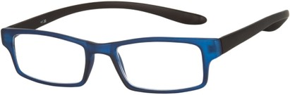 Angle of The Boise Hanging Reader in Matte Blue/Black, Women's and Men's Rectangle Reading Glasses