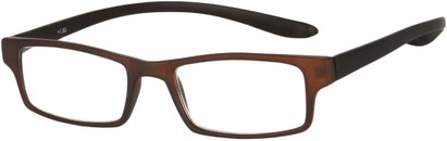 Angle of The Boise Hanging Reader in Matte Brown/Black, Women's and Men's Rectangle Reading Glasses