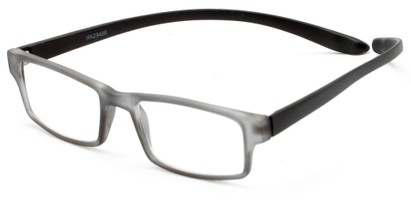 Angle of The Boise Hanging Reader in Matte Grey/Black, Women's and Men's Rectangle Reading Glasses