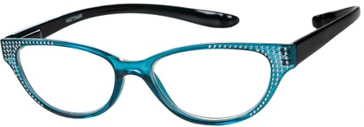 Angle of The Lexy Hanging Reader in Blue/Black, Women's Cat Eye Reading Glasses
