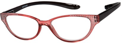 Angle of The Lexy Hanging Reader in Pink/Black, Women's Cat Eye Reading Glasses