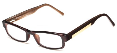Angle of The Hawthorne Customizable Reader in Brown, Women's and Men's Rectangle Reading Glasses