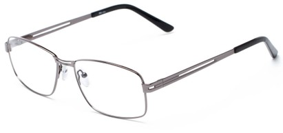 Angle of The Irwin Customizable Reader in Gunmetal, Women's and Men's Square Reading Glasses