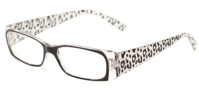 Angle of The Jeanette in Black/Clear Leopard, Women's Rectangle Reading Glasses