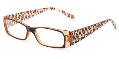 Angle of The Jeanette in Brown/Orange Leopard, Women's Rectangle Reading Glasses