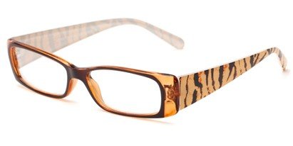 Angle of The Jeanette in Brown/Orange Tiger, Women's Rectangle Reading Glasses