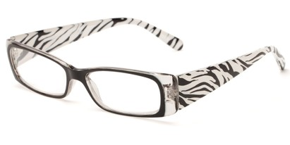 Angle of The Jeanette in Black/White Zebra, Women's Rectangle Reading Glasses