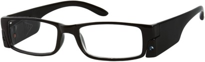 Angle of The Zurich LED Reader in Black, Women's and Men's Rectangle Reading Glasses