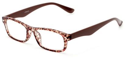 Angle of The Anastasia in Brown Leopard, Women's Retro Square Reading Glasses