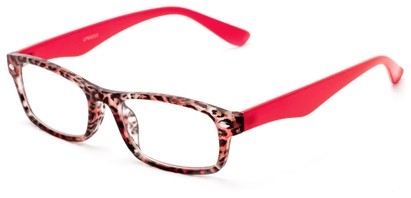 Angle of The Anastasia in Red Leopard, Women's Retro Square Reading Glasses
