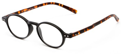 Angle of The Scholar in Matte Black/Tortoise, Women's and Men's Oval Reading Glasses