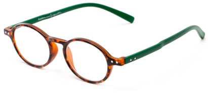 Angle of The Scholar in Matte Tortoise/Green, Women's and Men's Oval Reading Glasses