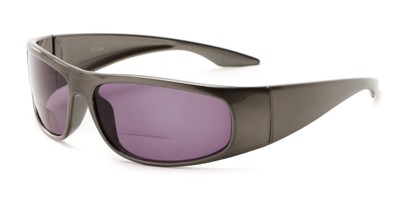 Angle of The Lance Bifocal Reading Sunglasses in Grey with Smoke, Women's and Men's Sport & Wrap-Around Reading Sunglasses