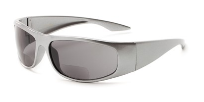 Angle of The Lance Bifocal Reading Sunglasses in Silver with Smoke, Women's and Men's Sport & Wrap-Around Reading Sunglasses