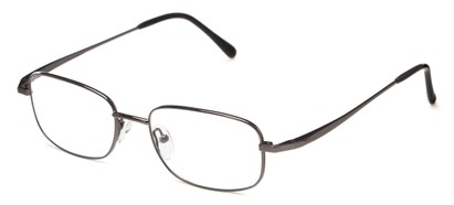 Angle of The Lexington Customizable Reader in Gunmetal, Women's and Men's Rectangle Reading Glasses