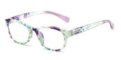 Angle of The Lorelai Bifocal in Purple, Women's Retro Square Reading Glasses