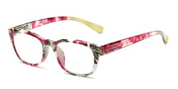 Angle of The Lorelai Bifocal in Red, Women's Retro Square Reading Glasses