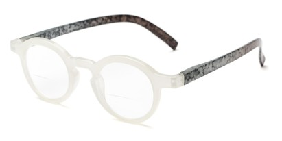 Angle of The Love Bifocal in White/Grey, Women's Round Reading Glasses