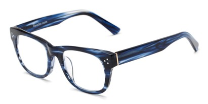 Angle of The Ludlow Signature Reader in Blue Stripes, Women's and Men's Retro Square Reading Glasses