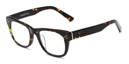 Angle of The Ludlow Signature Reader in Brown Tortoise, Women's and Men's Retro Square Reading Glasses