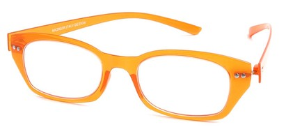 Angle of The Dublin Flexible Reader in Orange, Women's and Men's Square Reading Glasses