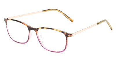 Angle of The Leah in Tortoise/Purple, Women's Retro Square Reading Glasses