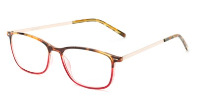 Angle of The Leah in Tortoise/Red, Women's Retro Square Reading Glasses