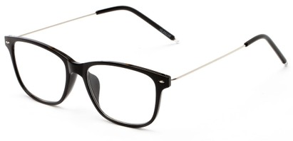 Angle of The Bodie in Black, Women's and Men's Retro Square Reading Glasses