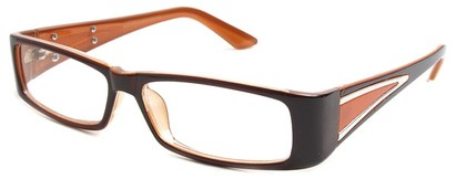 Angle of The Brooklyn in Brown and Orange Frame, Women's Rectangle Reading Glasses