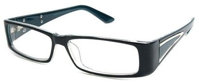 Angle of The Brooklyn in Black and Blue Frame, Women's Rectangle Reading Glasses