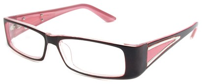 Angle of The Brooklyn in Red and Pink Frame, Women's Rectangle Reading Glasses