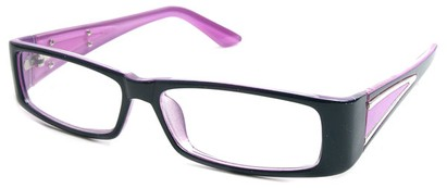 Angle of The Brooklyn in Black and Purple Frame, Women's Rectangle Reading Glasses