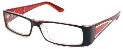 Angle of The Brooklyn in Black and Red Frame, Women's Rectangle Reading Glasses