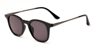 Angle of The Easterday Reading Sunglasses in Black/Grey with Smoke, Women's and Men's Round Reading Sunglasses