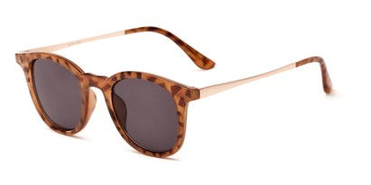 Angle of The Easterday Reading Sunglasses in Light Tortoise/Gold with Smoke, Women's and Men's Round Reading Sunglasses