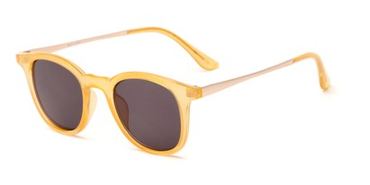 Angle of The Easterday Reading Sunglasses in Yellow/Gold with Smoke, Women's and Men's Round Reading Sunglasses