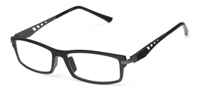 Angle of The Ralston in Black/Grey, Women's and Men's Rectangle Reading Glasses