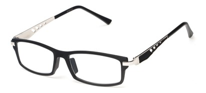 Angle of The Ralston in Black/Silver, Women's and Men's Rectangle Reading Glasses